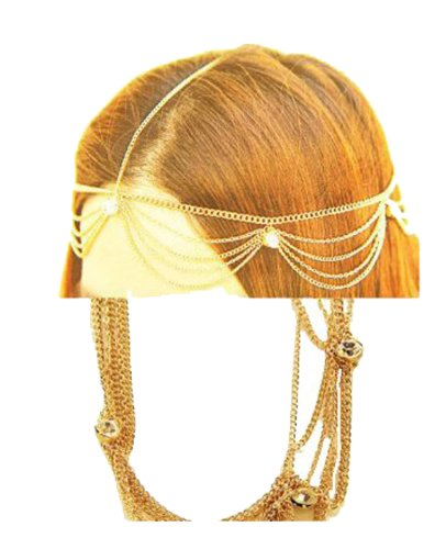 Fashion Jewelry  Goldtone Head Chain with Clear Crystals (Style FH1056-GLD)