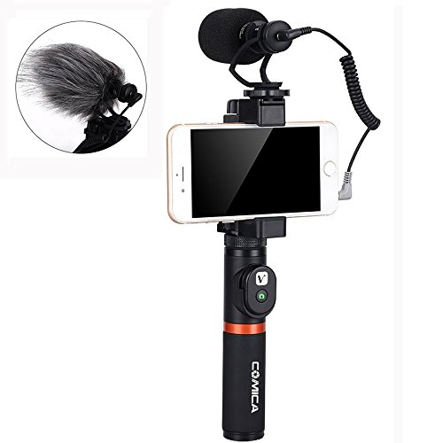 Comica Smartphone Video Kit CVM-VM10-K3 Filmmaker Handle Grip with Shotgun Video Microphone Video Rig for iPhone X 8Plus 8 7Plus 7 Samsung Huawei etc. (Bluetooth Remote Control Included) (Rig Video)
