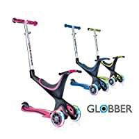 Globber 3 Wheel Adjustable Height Scooter with Convertible Seat Kit and LED Light Up Wheels (Pink LED Wheels)