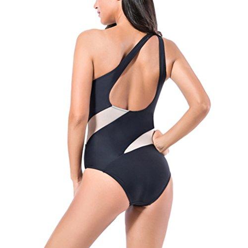 Zhuhaitf Alta calidad Women's Elastic Slim Quick-dry Swimwear Fashion Black Shoulder Swimsuit Black