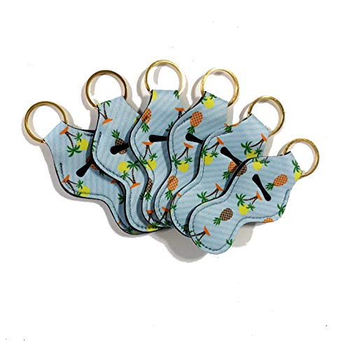 NEOPRENE FLOATING KEYCHAIN CHAPSTICK HOLDER - PACK OF SIX (6) (Palm Tree)