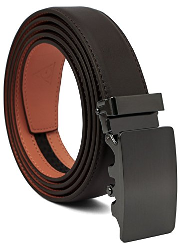 AOG DESIGN Two-tone Genuine Leather Sliding Belt with 35mm Automatic Ratchet Belt Buckle - Magnetic Edition (Gunmetal - Brown/Orange) - Design Belt Buckle