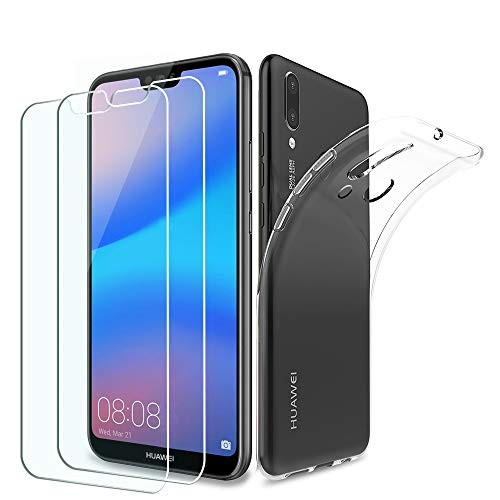 [3 in 1 pack] Pulen Case and Glass for Huawei P20 Lite,Ultra Thin Transparent TPU Cover [Shock-Absorption] with Tempered Glass Screen Protector [2 pack] [Scratch Resistant] for Huawei P20 Lite