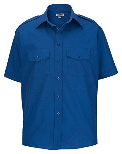 Ed Garments Point collar Short Sleeve Safari Poplin Shirt, ROYAL, 4XL Tall ()
