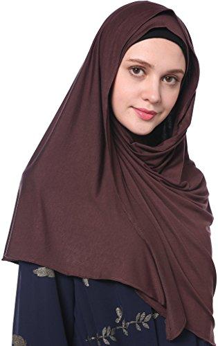 YI HENG MEI Women's Modest Muslim Islamic Soft Solid Cotton Jersey Inner Hijab Full Cover Headscarf,Coffee by YI HENG MEI (Image #2)