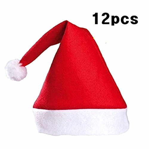 Kinteshun Christmas Santa Hat Economical Felt Santa Claus' Cap Xmas Hat(12pcs,One Size Fit All,Upgraded the Size & material in 2018) -
