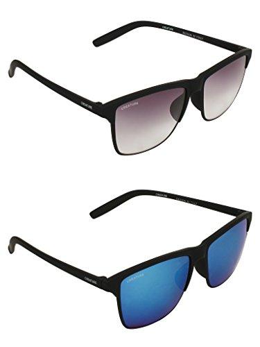 CREATURE Black Sunglasses Combo with UV Protection (Lens-Purple & Blue  Frame-Black  DOIT-001-004)