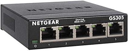 NETGEAR 5-Port Gigabit Ethernet Unmanaged Switch (GS305) - Home Network Hub, Office Ethernet Splitter, Plug-and-Play, Fanless Metal Housing, Desktop or Wall Mount