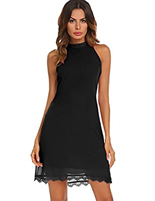 Kancystore Women's Casual Sleeveless Halter Lace Hem Mini Chiffon Dress