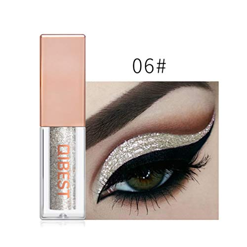 FOCALLURE Shimmer Giltter Eyeshadow Liquid Eyeliner Long Lasting Eye liner Pen Sparkling Shadow Brighten Eye (#01)
