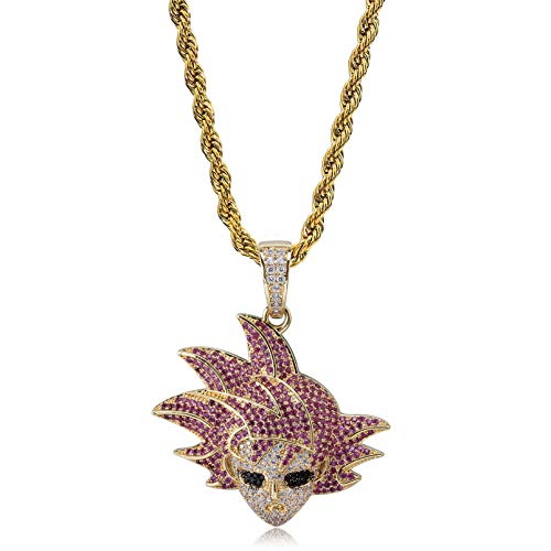TOPGRILLZ  Hip Hop Dragon Ball Cartoon Piccolo Frieza Goku Cell 14K Gold Plated Iced Out Pendant Necklace Chain for Men Kids (Gold Goku) (Dragon Ball Z Chain)