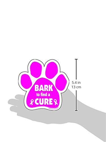 Imagine-This-5-12-Inch-by-5-12-Inch-Bark-to-Find-a-Cure-Paw-Car-Magnet-Pink