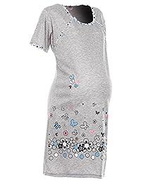 Happy Mama. Womens Maternity Nursing Breastfeeding Nightdress Shirt Gown. 140p