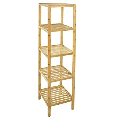 Smartxchoices 4/5 Tier 100% Bamboo Tower Free Standing Shelf Wood Storage Racks Livingroom Corner Wooden Bookshelf Organizer Floor Cabinet Display Rack