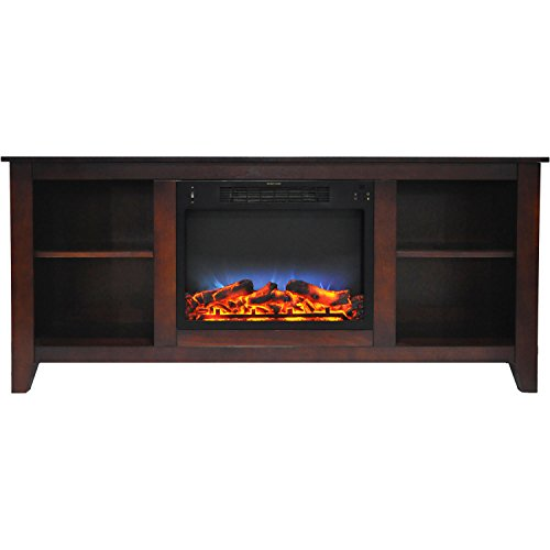 Fireplace Santa Monica - Cambridge CAM6226-1MAHLED Santa Monica 63 In. Electric Fireplace & Entertainment Stand in Mahogany w/ Multi-Color LED Insert