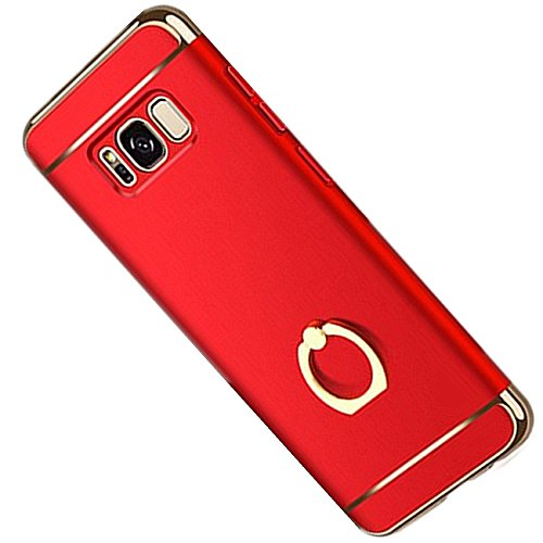 Samsung Galaxy S8 Case 3 in 1 Ultra-Thin Hard PC Cover with 360 Ring Stand Holder Case for Galaxy S8 Plus (Red, Samsung Galaxy S8)