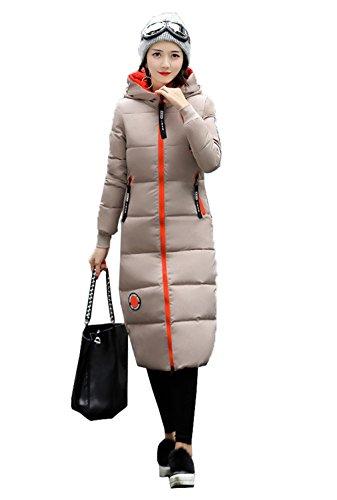 Outwear Mujeres capa Puffer algodón hacia del COMVIP gruesa Caqui abajo rodilla Delgado acolchado gUUZqF