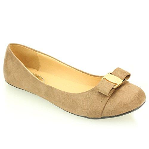 Frau Damen Abend Casual Komfort Ballerinas Sandale Pumpe Gericht Schuhe Größe (Schwarz, Maroon, Taupe) Taupe