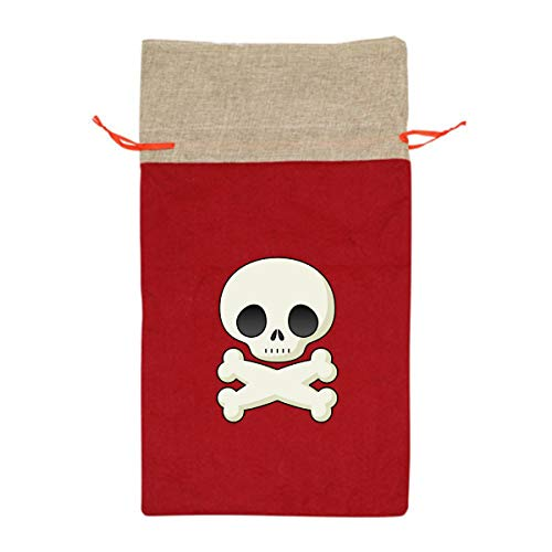 Halloween Skeleton Clipart Cute 12 Inch Long Tall Candy Treat Merry Christmas Xmas Eve Gift Bags Handles Carrying Toys Goodie Themed Party Holiday Nice Large Burlap -