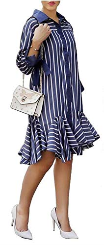Speedle Women Oversized Striped Shirts - 3/4 Sleeves Button Down Ruffle Fringed Hem Loose T Shirt Blue White - Cocktail Stripe