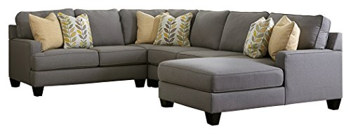 Ashley Furniture Signature Design - Chamberly 4-Piece Sectional - Left Arm Facing Loveseat, Armless Loveseat, Wedge, and Right Arm Facing Corner Chaise - Gray