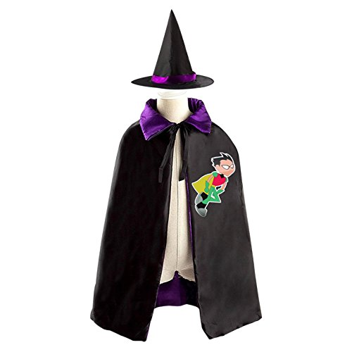 Mummy Costumes Party City (Halloween Titans-Go Wizard Witch Kids Childrens' Cape With Hat Party Costume Cloak purple)