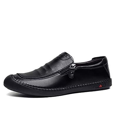 FYdgb Men's Leather Shoes Fashion Casual Breathable Slip-on Zipper Men's Shoes (Color : Black, Size : 38 EU)