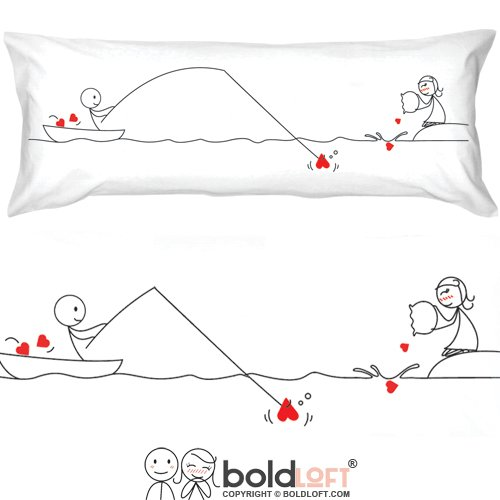 BOLDLOFT Catch My Heart Body Pillow Cover- Long Distance Relationship Gifts, Long Distance Couples Gifts, Valentines Day Gifts, Gifts for Him, Her, Boyfriend, Girlfriend, Body Pillowcase 20 x 54