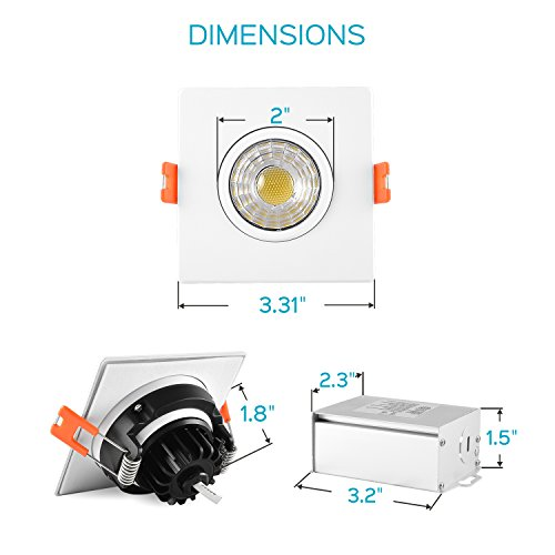 Luxrite 3 Inch Gimbal LED Square Recessed Light with Junction Box, 8W, 5000K Bright White, 600 Lumens, Dimmable Downlight, Energy Star & IC Rated, Damp Location - Adjustable Recessed Lighting by Luxrite (Image #5)