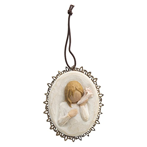 Willow Tree hand-painted sculpted Metal-edged  Ornament, Thinking of You (26202)