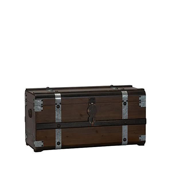 Household Essentials Steel Band Wood Storage Trunk | Large Chest, Brown