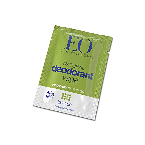 EO Organic Biodegradable Deodorant Wipes, Refresh On-the-go Packs, Tea Tree, 24 Count