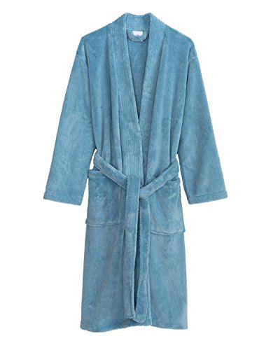 TowelSelections Super Soft Plush Kimono Bathrobe Fleece Spa Robe for Men Large/X-Large Angel Falls