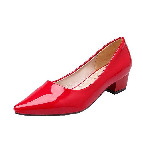 Tire Rouge Verni Bas Femme Chaussures À Talon Légeres Agoolar Fermeture D'orteil A0wOv