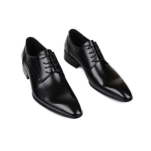 Lyzgf Mænd Gentleman Business Casual Mode Komfortable Banket Pegede Snøring Lædersko Sort 9GbWq89l