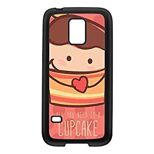 Cute Lovely Cupcake on Pink Polka Dots Black Silicon Rubber Case for Galaxy S5 Mini by UltraCases + FREE Crystal Clear Screen Protector