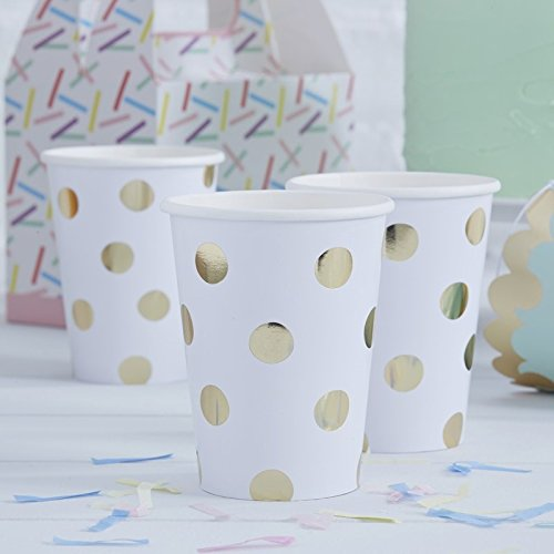 Paper Cups Holiday Party Wedding 50th Anniversary Gold Dots 9 oz. Pk 16 50th Anniversary Themes