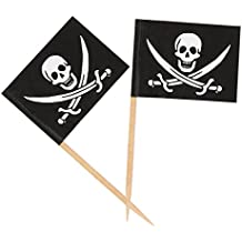 200 Count Pirate Flag Picks - Party Cocktail Toothpicks for Food, Appetizer, Cocktail, Cupcake Decoration for Kids Parties, 2.5 x 1.375 Inches