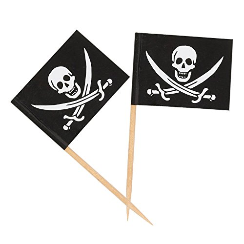200 Count Pirate Flag Picks - Party Cocktail Toothpicks for Food, Appetizer, Cocktail, Cupcake Decoration for Kids Parties, 2.5 x 1.375 Inches]()