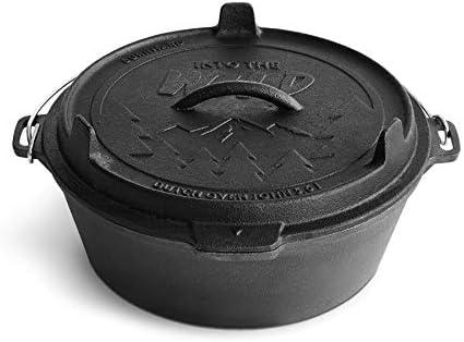 BURNHARD Olla de Hierro Fundido - Dutch Oven, Horno holandés, Cacerola Hierro Fundido, Olla Cocina - John 5,6 L