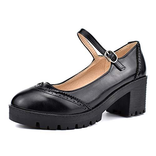 (100FIXEO Women Block Heel Ankle Strap Mary Jane Pumps (9 (B) M US, Black))