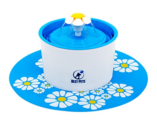 - Best Pets Pet water fountain - drinking electric dispenser bowl for cats dogs and birds - 3 water flow drink settings with ultra silent pump - blue flower fountains