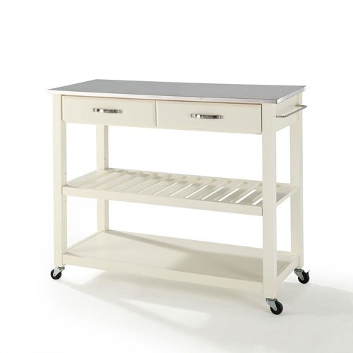 251 First Grace Stainless Steel Top Kitchen Cart/Island in White Finish