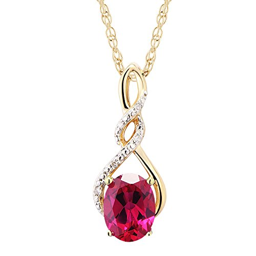 10k Yellow Gold Diamond Ruby - 10k Yellow Gold Lab Created Ruby Necklace Diamond Accent - 7/8 Inch Twist Pendant 8x6 MM Created Ruby 18 Inch Rope Chain