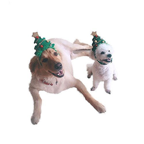 Stock Show Pet Dog Holiday Christmas Hat, Puppy Dog Xmas Tree Shape Hat Costume Headband Head Hoop Christmas Collection Party Ball Pet Accessory