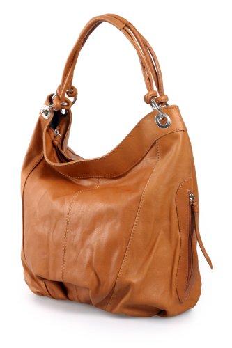 XL Shopper bolso de diseño italiano, de piel de napa auténtica. Varios colores a elegir: negro, marrón, coñac, verde, 42 x 30 x 30 cm., color negro, talla one size coñac