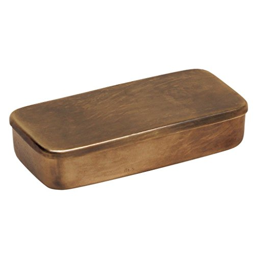 (Time Concept Handcrafted Antique Hinged Small Brass Box - Accessories Storage, Home Decor - W4.3