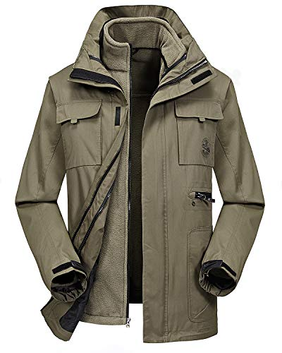 Fleece Hood 1 - MECASTAR Mens Snowboard Ski Jacket 3-in-1 Waterproof Windproof Warm Winter Shell with Detachable Hood and Fleece Liner (Large, Khaki)
