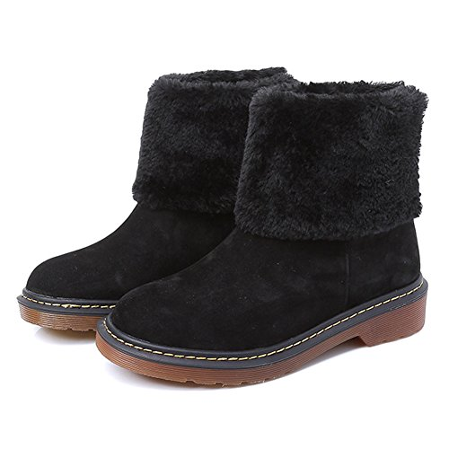 KALENDS Women's Warm Fur Snow Boots Genuine Leather Ankle Boots Plus Size Shoes Black YgmEVc