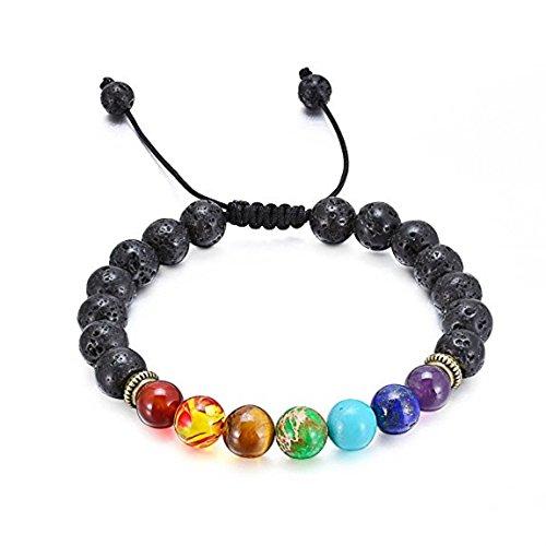 Infasea 7 Chakra Healing Lava Stone Diffuser Bracelet - Braided Rope Natural Gemstone Beads Bracelet